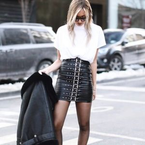 Missguided Skirts - Missguided Faux Leather Buckle Detail Mini Skirt
